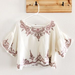 Free People Embroidered Flutter Sleeve Crop Top L